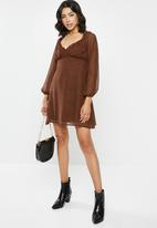 Missguided - Milkmaid skater dress animal - brown & black