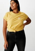Cotton On - Curve graphic tee over it - yellow