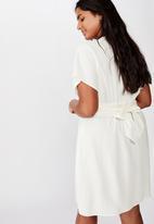 Cotton On - Curve button front mini dress - cream