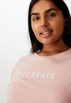 Cotton On - Curve graphic tee create - pink