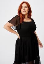 Cotton On - Curve shirred flutter sleeve midi dress - black