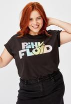 Cotton On - Curve graphic license tee lcn per pink floyd rainbow glitter - black