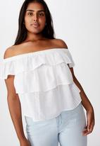 Cotton On - Curve sunshine off the shoulder top - white