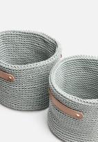 Sixth Floor - Woven storage basket set of 2 - grey