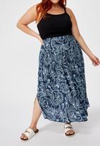 Cotton On - Curve woven maya maxi skirt cali paisly - mood indigo
