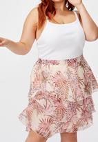 Cotton On - Curve woven piper mini skirt tessa tropical - icy cantalope