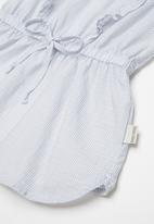 Sticky Fudge - Fine stripe frill dress - blue & white