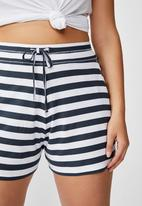 Cotton On - Curve sleep recovery shorts - navy & white