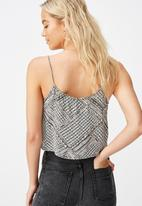 Cotton On - Astrid cropped scoop neck cami billie spliced geo - black & white