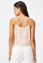Cotton On - Astrid cropped scoop neck cami billie spliced geo - beige & white