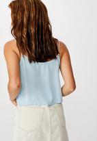 Cotton On - Astrid cropped scoop neck cami - blue