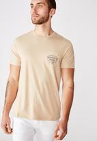 Cotton On - Tbar text short sleeve tee - tan