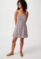 Cotton On - Woven kendall mini dress blair floral - purple & black