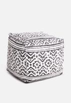 Sixth Floor - Caddo printed ottoman - black & white