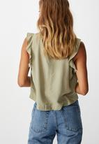 Cotton On - Sunny days sleeveless frill tank - green