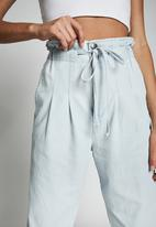Cotton On - Paperbag pants - blue