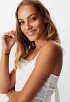 Cotton On - Cloud dancer tie back lace trim cami - white