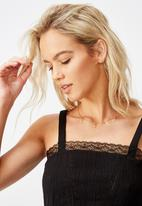Cotton On - Cloud dancer tie back lace trim cami - black