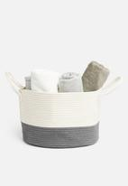 Sixth Floor - Cotton rope belly storage basket - white & grey