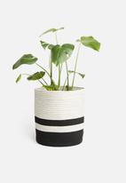 Sixth Floor - Two-toned cotton rope basket - black