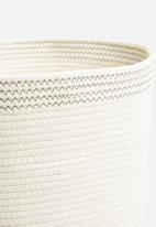 Sixth Floor - Round cotton rope basket - white & grey