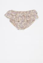 Sticky Fudge - Lilly frill diaper cover - beige & white