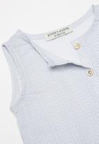 Sticky Fudge - Fine stripe sleeveless romper - blue & white
