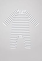 Sticky Fudge - Stripe long sleeve babygrow - black & white