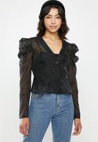 Missguided - Organza puffed sleeves peplum top - black