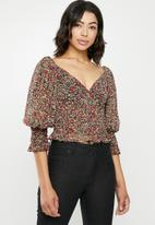 Missguided - Floral milkmaid shirred top - multi