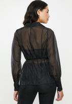 Missguided - Organza belted wrap blouse - black