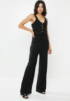Missguided - Rib button detail vest top wide leg set - black