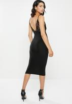 Missguided - Slinky and lace midi dress - black