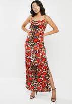 Missguided - Leopard print cowl cami midi dress - multi