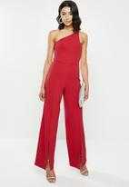 Missguided - Cut out detail slit front trouser jumpsuit - red