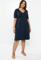 edit Plus - Classic empire line dress - navy