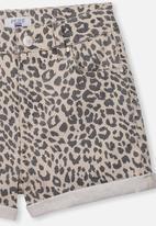 Free by Cotton On - High waist denim short - beige & black