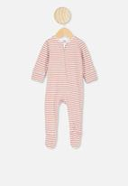 Cotton On - The long sleeve zip romper - white & clay