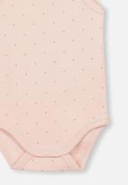 Cotton On - Picot trim singlet bubbysuit - pink