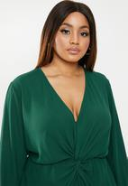 edit Plus - Drape detail smart dress - green