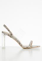 Public Desire - Justify snakeskin perspex block heel - beige