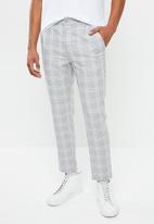 Factorie - Slim fit tapered leg pant - grey & white