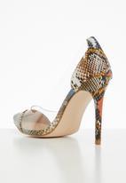 Public Desire - Potion snakeskin perspex stiletto heel - multi