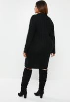 edit Plus - Cable knit tunic - black