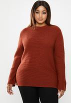 edit Plus - Zip back chunky knit (plus) - rust