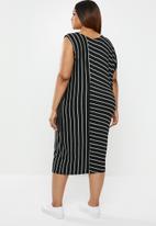 edit Plus - Asymmetrical styled dress - black & grey