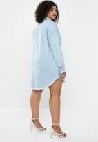 Missguided - Oversized denim shirt dress -  blue