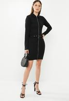 Missguided - Ribbed polo zip front mini dress - black