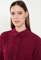 Missguided - Belted cord skater shirt dress - red