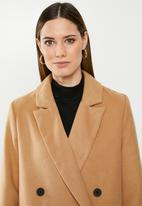 Missguided - Short oversized double breasted coat - brown